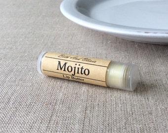 Mojito lip butter, mojito lip balm, peppermint lip balm, lip balm favors, lime lip balm, wedding favors, lip balm