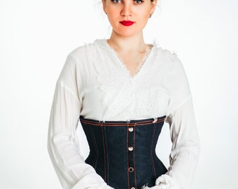 Denim waist steel-boned authentic corset. Corsettery Western Collection. Tight lacing and waist training, steampunk, gothic, pirate