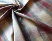 "Silk Fabric - Gorgeous deep red/green/gold plaid - 100% Silk - Lightweight dupioni - 54"" Wide - by the yard - EP Silk #65"
