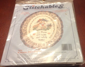 Stitchables Counted Cross Stitch 7856 If Mama Ain't Happy  Kit Ruffle Lace Oval Shape Dimensions 14 Count Aida Creative Calligraphy