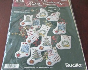 Bucilla Silk Ribbon Embroidery Ornament Set Victorian Stockings Set Of 12 Christmas Tree Wreath Christmas Decor