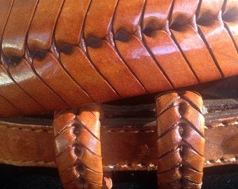 Vintage 1980's Woven Leather Belt Size 34