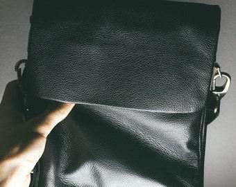 Black shoulder bag for men. Leather crossbody bag - best gift idea. Exclusive OOaK made to order Groomsmen gift