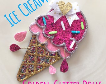 Summer Ice Cream Cone Glitter Hair Clip/ Headband