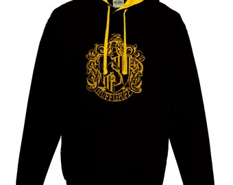 Harry Potter Hufflepuff house Quidditch hoodie in black and gold.