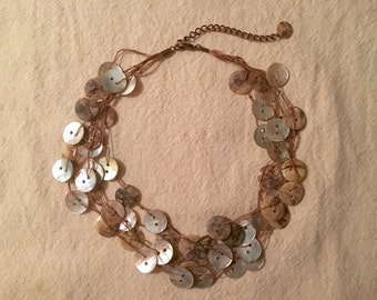 Vintage Button Necklace - mother of pearl