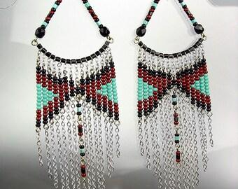 Black Turquoise Beads Bohemian Boho Gypsy Peruvian Chandelier Dangle Earrings , Bohemian Earrings, Cascading Dangle Earrings, FREE SHIPPING!