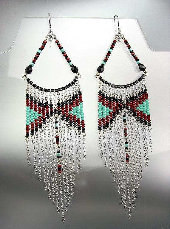 Black Turquoise Beads Bohemian Boho Gypsy Peruvian Chandelier