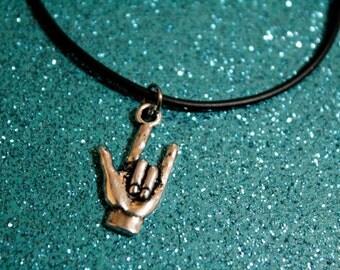 Rock Horns Hand Necklace Rock Horn Hand Choker Rock On Necklace Devil Horns Hand Symbol Rocker/Metal Jewelry Heavy Metal Punk Rock
