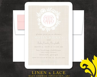 LINEN & LACE . baby shower invitation