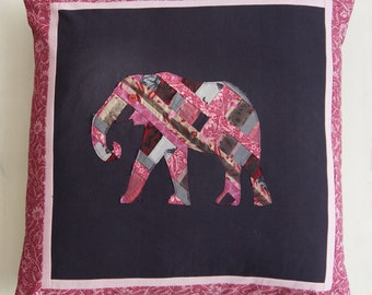 Patchwork pink elephant cushion