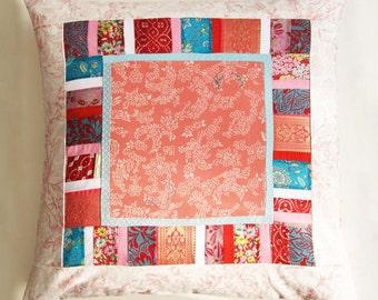 Coral Kimono silk cushion