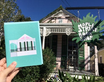 New Orleans Greeting Card, Maple Street Book Shop, Uptown, Fight the Stupids, Architecture Louisiana