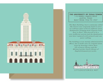Austin Greeting Card, University of Texas Tower, College, Longhorn, Architecture Texas