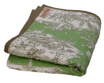 VERDE - Boutis, Quilt, french Quilt, Bedspread, french fabric, green, Toile-de-Jouy, Cotton, Picnic Blanket, Tagesdecke, Bettüberwurf