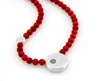 Red Coral bead necklace - red coral necklace - red necklace - sterling silver pendant necklace - round pendant necklace