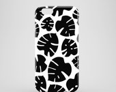 Black Monstera iPhone 7 case bw iPhone 7 case graphic iPhone Se case floral iPhone Se iPhone 6S iPhone 6 iPhone 55s