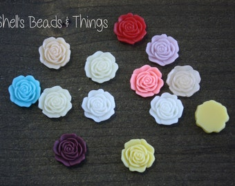 Flat Back Resin Flower Cabochon, Assorted Colors, Resin Rose Cabochon, Jewelry Making Supply