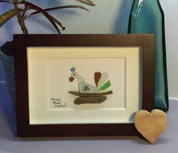 Nesting Bird Sea Glass Art Country Kitchen Decor Bird