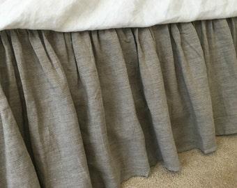 linen bedskirt in DARK LINEN shade, linen dust ruffles, bed skirts, bed skirt, shabby chic bedding