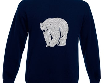 Mens Polar Bear Glitter Christmas Jumper / Sweatshirt