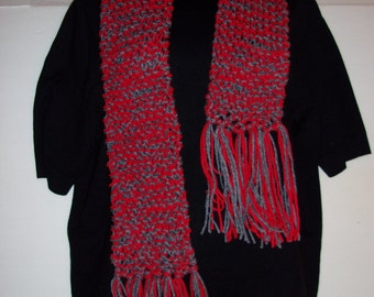 Hand Made Knited Scarve Red and Gray (Ohio State Football) Colored
