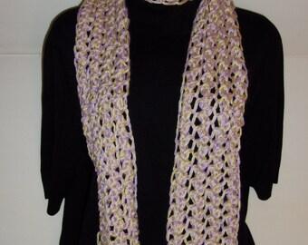Hand Made Aqua and Light Purple Knitted Scarf