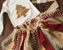 My First Christmas Outfit, Shabby Chic Christmas, Babies First Christmas Outfit, My First Christmas