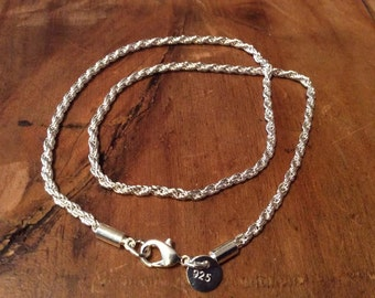 925 Sterling Silver Rope-Twist Necklace - 3mm thick / 16 inch length