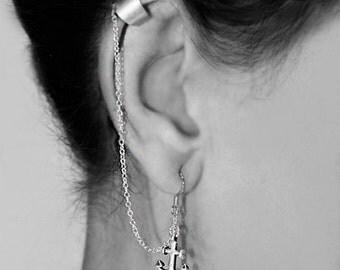 Sterling Silver Anchor Ear Cuff Wrap Earring - Silver Anchor Earring