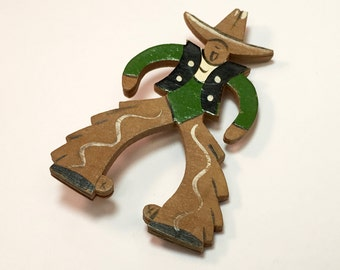 50s Wooden Cowboy Brooch | Painted Cowboy Pin