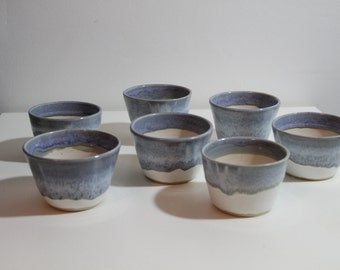 planters, plant pots, white and blue, small