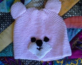 Pink teddy hat for newborn