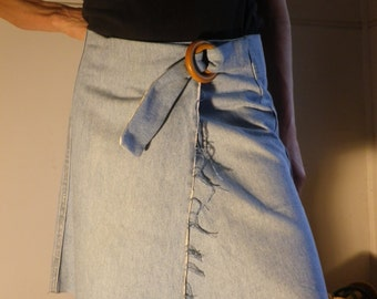 Recycled denim wrap skirt