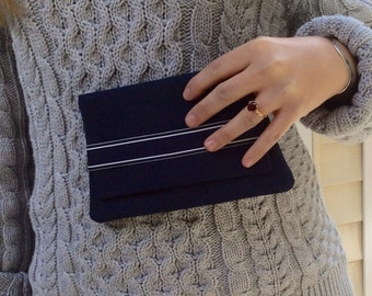 Navy blue clutch purse