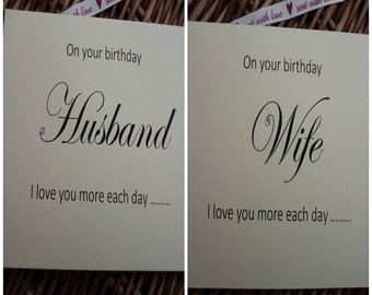 Birthday card - I love you more each day, Birthday card for wife or husband, birthday card for wife, birthday card for husband, wife husband