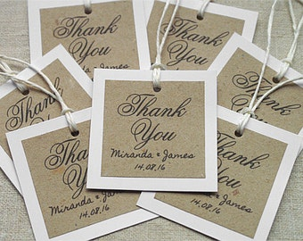 15 Customized Thank You Lebels, Thank You Tags, Wedding Favor Tags, Wedding Lebels, Custom Tags, Personalized Tags, Kraft Stickers
