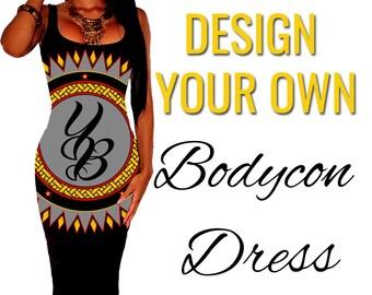 Custom Printed Bodycon Dress by Legs247.com