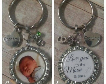 Keychain for Grandma - Keychain for Mom - Picture Keychain - Personalized Gift - Custom Photo Keyring - Photo Keepsake - Custom Photo Gift