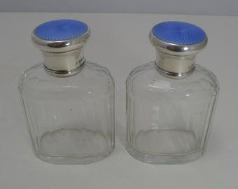 Quality Pair Vintage Sterling Silver and Guilloche Enamel Cologne / Scent Bottles