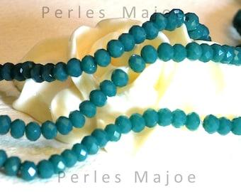 Lot de 60 perles opaques en cristal forme toupie à facettes de couleur vert  3 x 2 mm