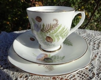 Vintage Imperial Fine Bone China Trio Autumn Leaves & gold Cup Saucer Side Plate