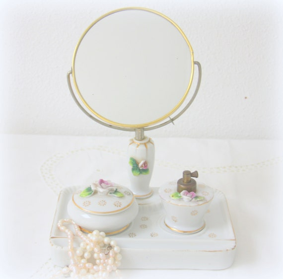 Rare Vintage Vanity Mirror with Powder/Trinket Box and Perfume Bottle, Swivel Make-up Mirror with Attached Tray, Rose Decor