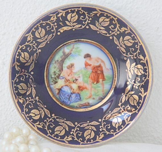 Vintage Limoges Porcelain Miniature Plate with Fragonard Decor, France