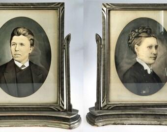 Antique Portrait Photo Pair in Davis Dry Goods Marshall Field Swivel Tilt Frame
