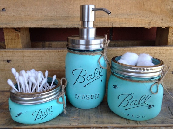Beach Bathroom Decor: Painted Mason Jars. Bathroom Decor. Home Decor. Beach Bathroom