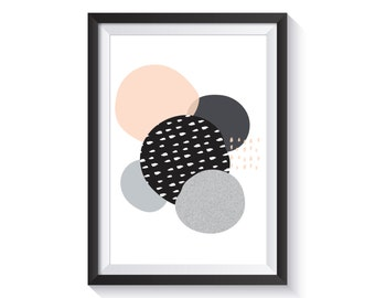 Abstract Scandi Art Print - A4 size | Scandinavian, abstract, geo, monochrome, peach, pattern, illustration