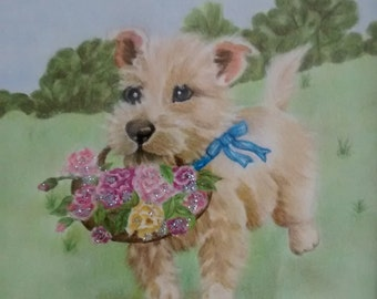Dog with basket of roses