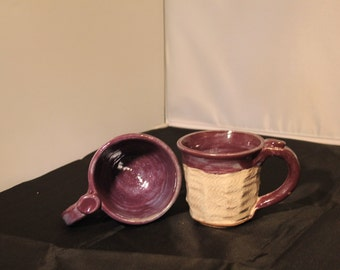 purple and oatmeal hand thrown pottery cup