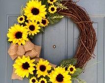 Sunflower Front Door Wreath - Sunflower Wreath - Spring Sunflower Wreath - Sunflower Decoration - Sunflower Door Hanger- Personalized Wreath
